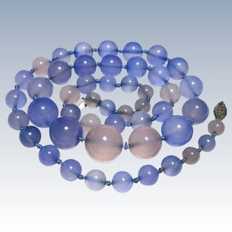 Art Deco Chalcedony Beaded Riviere Necklace