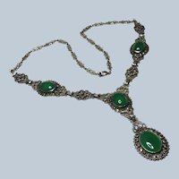 Art Deco Chrysoprase Marcasite Sterling Y Necklace