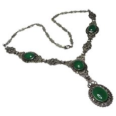 Art Deco Chrysoprase Marcasite Sterling Y Necklace