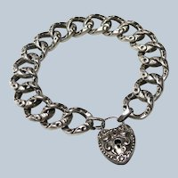 Antique Victorian Sterling Heart Padlock Bracelet+Key