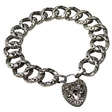 Antique Victorian Sterling Heart Padlock Bracelet+Key