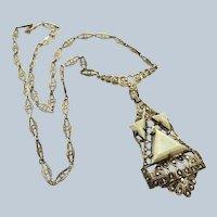 Edwardian Silver Gilt Amazonite Marcasite Necklace