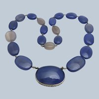 Art Deco Chalcedony Gems Sterling Necklace