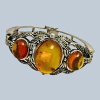 Art Nouveau Baltic Amber Sterling Bangle Bracelet