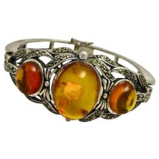 Art Nouveau Baltic Amber Sterling Bangle Bracelet
