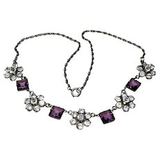 Art Deco Sterling Diamond + Amethyst Paste Necklace