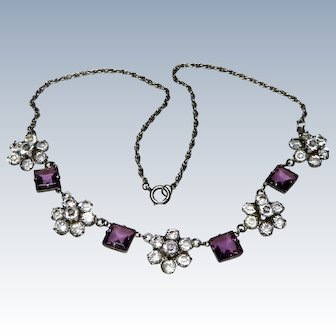 Art Deco Sterling Diamond + Amethyst Paste Necklace