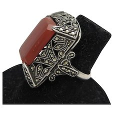 Art Deco Carnelian + Marcasite Sterling Ring