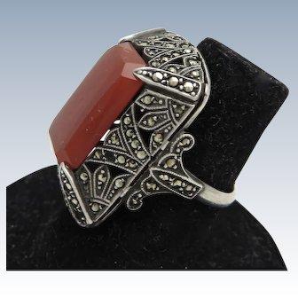 Art Deco Carnelian + Marcasite Sterling Ring