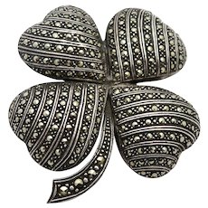 4-Leaf Clover x-large Sterling Marcasite Brooch/Pin