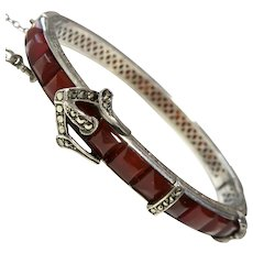 Art Deco Carnelian Sterling Buckle Bangle Bracelet Marcasites