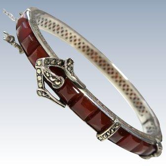 Art Deco Carnelian Sterling Buckle Bangle Bracelet Marcasites