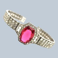 Art Deco Diamond & Ruby Paste Sterling Bracelet