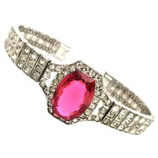 Art Deco Diamond & Ruby Paste Sterling Bracelet