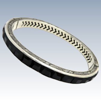 Art Deco Onyx Paste Sterling Bangle Bracelet
