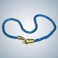 Gold Plated Snake Necklace Woven Seed Beads