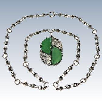 Art Deco Chrysoprase Marcasite Sterling Necklace