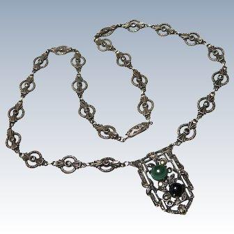 Edwardian Malachite Onyx Marcasite Sterling Necklace German