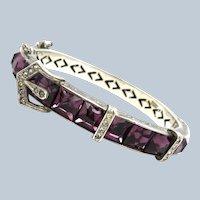 Art Deco Amethyst Glass Sterling Buckle Bangle Bracelet