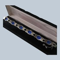 Art Deco Chalcedony Marcasite Sterling Bracelet Germany