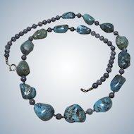 "Vintage Large Nugget Turquoise Sterling Necklace 24"""