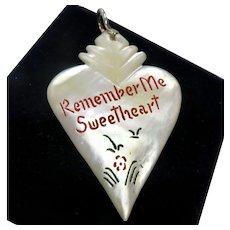 WWII MOP Sweetheart Enamel Pendant Sterling