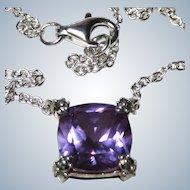 Krementz Almandine Spinel Sterling Pendant Necklace