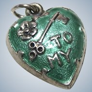 Vintage Sterling Enamel X-tra Puffy Heart Charm