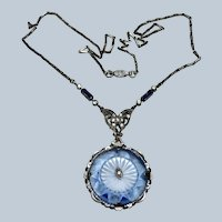 Edwardian Camphor and Blue Glass Sterling Necklace