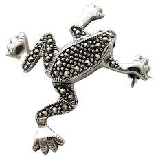 Vintage Frog Sterling Marcasite Brooch/Pin
