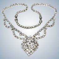 1950's Rhinestone Heart Shaped Necklace Bridal