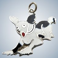 Enamel Black and White Sterling Dog Charm
