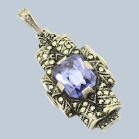 Art Deco Blue Spinel Sterling Marcasite Pendant Uncas