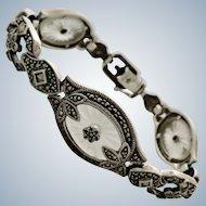 Judith Jack Camphor Glass + Marcasite Sterling Bracelet