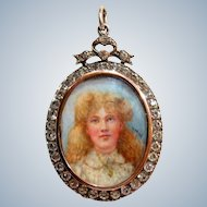 Edwardian Signed Portrait Sterling Pastes Locket Pendant