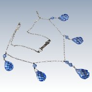 Art Deco Periwinkle Blue Sterling Crystal Necklace