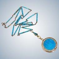 Deco Sterling Enamel Pastes Locket & Chain