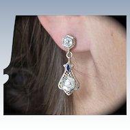 Art Deco Diamonds Sapphires 18K Gold Earrings