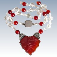 Art Deco Carnelian Sterling Necklace with Clear Crystals