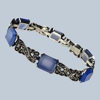 Art Deco Chalcedony + Marcasites Sterling Bracelet German