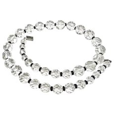 Art Deco Multi Facet Glass Crystal Sterling Necklace 20""