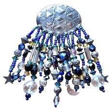 Southwest Sterling Moon + Stars + Glass Beads Brooch/Pin
