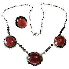 Edwardian Sterling + Enamel Carnelian Necklace + Ring