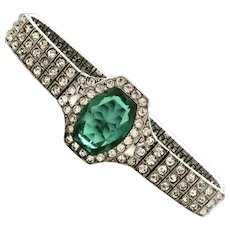 Art Deco Diamond + Emerald Paste Sterling Bracelet