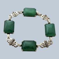 Art Deco Chrysoprase + Marcasite Sterling Bracelet