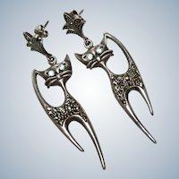 Vintage Siamese Car Sterling Dangle Earrings