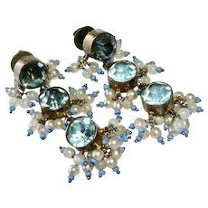 Victorian Blue Zircon Paste with Seed Beads Silver Earrings