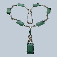 Germany Chrysoprase Sterling Marcasite Necklace