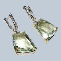 Green Amethyst (Prasiolite) Sterling Earrings Pierced