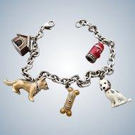Judith Jack Enamel Sterling Dog Theme Charm Bracelet